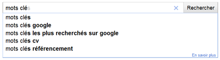 mots clés google, autocompletion, google suggest