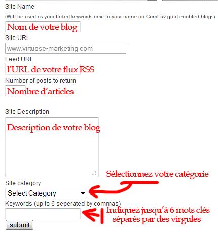 Indiquez les informations de votre blog sur CommentLuv
