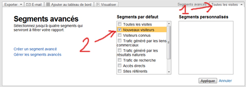 taux de rebond, nouveaux visiteurs, visiteurs connus, google analytics