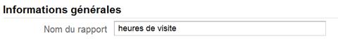 google analytics, rapport personnalisé, heure de visite